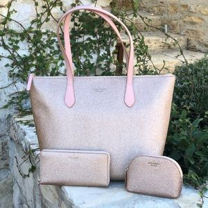 3pcs kate spade Joeley glitter handbag&wallet&case